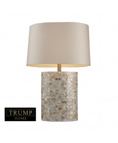 Dimond Lighting D1413 Trump Home Sunny Isles Table Lamp in Real Mother of Pearl with Oval Milano Off-white Shade