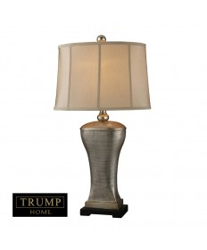Dimond Lighting D1431 Trump Home Lexington Avenue Table Lamp in Silver Lake with Oyster Faux Silk Shade and Cream Fabric Liner