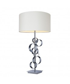 Dimond Lighting D1475 Avon Comtemporary Chrome Table Lamp with Intertwined Circular Design with a White Hardbacked Shade.