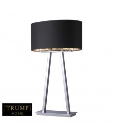 Dimond Lighting D1479 Trump Home Empire 2 Light Table Lamp in Chrome with Oval Black Faux Silk Shade- Silver Foil Liner