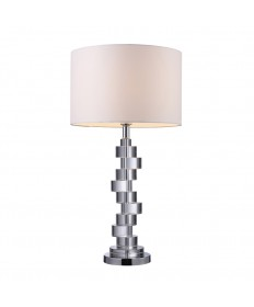 Dimond Lighting D1480 Armagh Table Lamp in Clear Crystal and Chrome with Pure White Faux Silk Shade