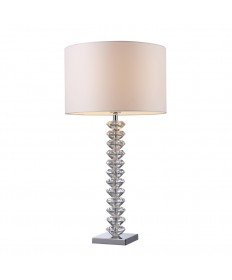Dimond Lighting D1483 Modena Table Lamp in Clear Crystal with Pure White Faux Silk Shade