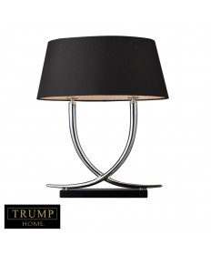 Dimond Lighting D1486 Trump Home Park East 2 Light Table Lamp in Chrome and Black with Oval Faux Silk Black Shade- Silver Foil Liner