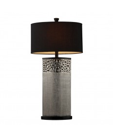 Dimond Lighting D1490 Bellevue Table Lamp in Silver Plating with Oval Black Shantung Shade
