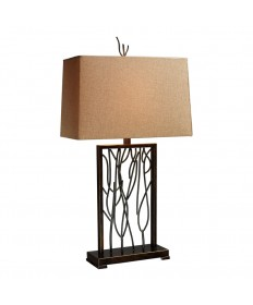 Dimond Lighting D1518 Belvior Park Table Lamp in Aria Bronze and Iron with Woodlawn Toast Linen Shade and Gold Fabric Liner