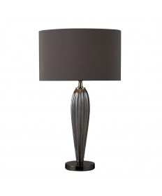 Dimond Lighting D1597 Carmichael Table Lamp in Steel Smoked Glass and Black Nickel with Oval Slate Grey Faux Silk Shade and Slate Grey Fabric Liner