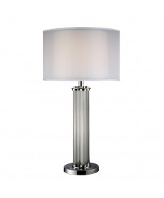 Dimond Lighting D1614 Hallstead Table Lamp in Chrome with Silver Organza Outer Shade and Pure White Inner Shade