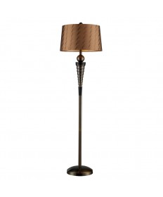 Dimond Lighting D1739 Laurie Floor Lamp in Dunbrook Finish with Bronze Tone on Tone Faux Silk Shade Light Bronze Fabric Liner