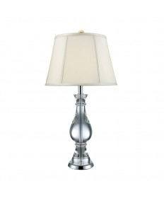 Dimond Lighting D1809 Kentwood Table Lamp in Clear Crystal and Chrome with Off-white Faux Silk Shade and White Liner