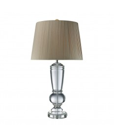 Dimond Lighting D1811 Castlebridge Table Lamp in Clear Crystal with Light Grey Faux Silk Shade and Off-white Liner