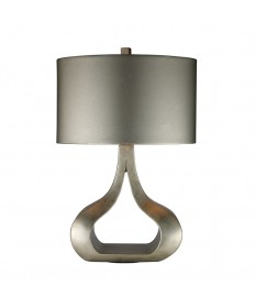 Dimond Lighting D1840 Carolina Table Lamp in Silver Leaf with Oval Metallic Silver Faux Leather Shade and Silver Foil Liner
