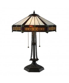 Dimond Lighting D1852 Filigree 2 Light Table Lamp in Tiffany Bronze with Tiffany Glass Shade