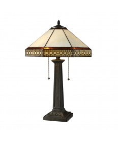 Dimond Lighting D1858 Stone Filigree 2 Light Table Lamp in Tiffany Bronze with Tiffany Glass Shade