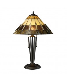 Dimond Lighting D1860 Porterdale 2 Light Table Lamp in Tiffany Bronze with Tiffany Glass Shade