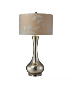 Dimond Lighting D1883 Orion Table Lamp in Antique Mercury Blown Glass with Metallic Print on Cream Linen Shade and Cream Fabric Liner