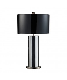 Dimond Lighting D1893 Shreve Table Lamp in Mirror and Black Nickel with Oval Black Patent Faux Leather Shade and Silver Fabric Liner
