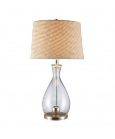Dimond Lighting D1975 Longport Table Lamp in Clear Glass and Chrome with Natural Linen Shader Cream Fabric Liner
