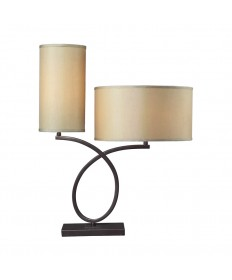 Dimond Lighting D2002 Greenwich Table Lamp in Aged Bronze with Light Gold Faux Silk Shade Cream Fabric Liner