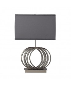Dimond Lighting D2057 Ekersall Table Lamp in Chrome with Grey Faux Silk Shade Grey Fabric Liner