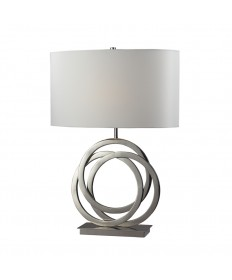 Dimond Lighting D2058 Trinity Table Lamp in Polished Nickel with Pure White Faux Silk Shade Pure White Fabric Liner