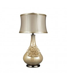 Dimond Lighting D2115 Eleanor Elenaor Table Lamp in Pearlescent Cream Finish with Cream Shade- Metallic Cream Faux Leather Trim