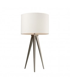 Dimond Lighting D2122 Salford Table Lamp in Satin Nickel with Off-white Linen Shade Pure White Fabric Liner