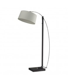 Dimond Lighting D2183 Logan Square Floor Lamp in Dark Brown with off White Linen Shade