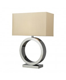 Dimond Lighting D2201 Aurora Contemporary Circle Table Lamp in Chrome with Light Beige Faux Silk Shade.