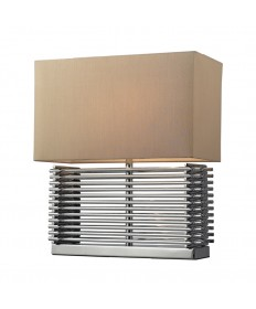 Dimond Lighting D2205 Andros Slatted Table Lamp in Chrome with Light Beige Faux Silk Hard Back Shade.