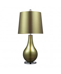Dimond Lighting D2225 Dayton Table Lamp in Sigma Green and Polished Nickel Finish with a Green Faux Silk Shade and Green Liner.