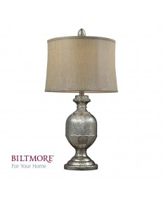 Dimond Lighting D2238 Emma Antique Mercury Glass Table Lamp with Metallic Gray Linen Shade and Cream Liner