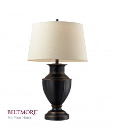 Dimond Lighting D2245 Cornelius Painted Steel Table Lamp with Ribbed Design in a Dark Bronze Finsih. the Shade is a Cream Linen with a Cream Liner