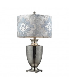 Dimond Lighting D2248P Langham Mercury Glass and Polished Chrome Table Lamp with a Blue Gray Damask Shade and White Liner