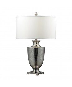 Dimond Lighting D2248W Langham Mercury Glass and Polished Chrome Table Lamp with a Pure White Faux Silk Shade and White Liner