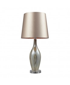 Dimond Lighting D2257 Etna Ceramic Table Lamp in a Painter Ribbon Finish with a Champagne Faux Silk Shade and Liner