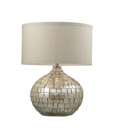 Dimond Lighting D2264 Canaan Ceramic Table Lamp in a Cream Pearl Finish with a Light Beige Linen Shade and Cream Liner