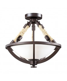 ELK Lighting 63011-2 Natural Rope Aged Bronze Semi-flush