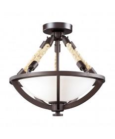 ELK Lighting 63011-2 Natural Rope Aged Bronze Semi-flush