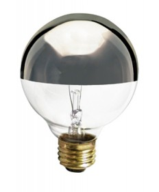 Satco S3861 Satco 40G25/SL 40 Watt 120 Volt G25 Medium Base Silver Crown Globe Decorative Light Bulb
