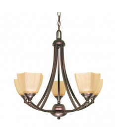 Nuvo Lighting 60/055 Normandy 5 Light 25 inch Chandelier with Champagne Linen Washed Glass