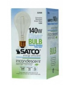 Satco S2508 Satco 140 Watt A-21 120 Volt E26 Medium Base Clear Reduced Wattage Higher Lumen Incandescent Light Bulb