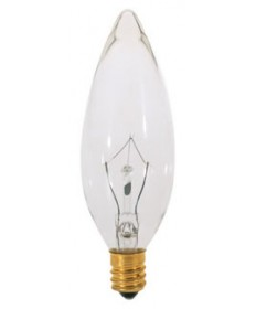 Satco S3230 Satco 15B9.5 15 Watt 120 Volt B9.5 Candelabra Base Clear Torpedo Tip Decorative Light Bulb