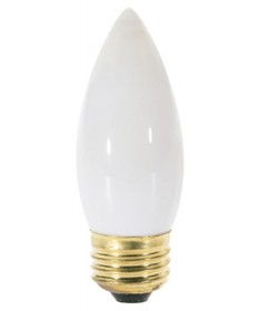 Satco A3537 Satco 25B11/W 25 Watt 130 Volt B11 Medium Base White Torpedo Tip Decorative Allura Light Bulb