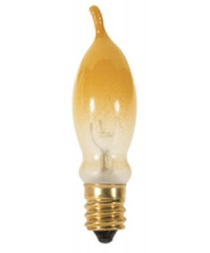 Satco S3243 Satco 7.5CA5/FY 7.5 Watt 120 Volt CA5 Candelabra Base Frosted Yellow Petite Turn-Tip Incandescent Light Bulb