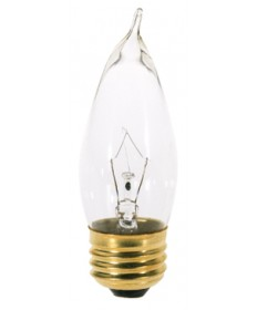Satco A3664 Satco 25CA10 25 Watt 130 Volt CA10 Medium Base Clear Decorative Allura Light Bulb