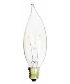 Satco S3773 Satco 15CA8 15 Watt 120 Volt CA8 Candelabra Base Clear Decorative Turn-Tip Incandescent Carded Light Bulb