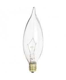 Satco S3275 40 Watt Candelabra Base Clear Bent-Tip Decorative Light Bulb
