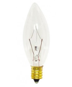 Satco S3346 Satco 25B8/Petite 25 Watt 130 Volt B8 Candelabra Base Clear Petite Torpedo Tip Decorative Light Bulb