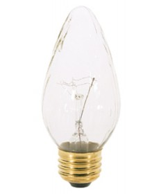 Satco S2763 Satco 25F15 25 Watt 120 Volt F15 Medium Base Clear Flame Tip Incandescent Light Bulb