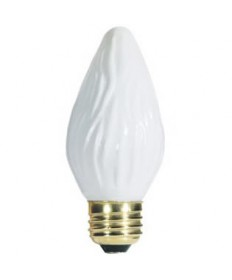 Satco S2764 Satco 25F15/W 25 Watt 120 Volt F15 Medium Base White Flame Tip Incandescent Light Bulb
